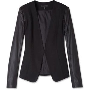 Theory Yaisa Leather Sleeve Blazer